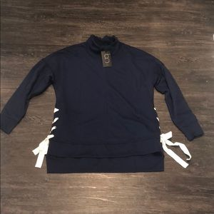 NWT Gibson Navy sweatshirt with lace-up sides